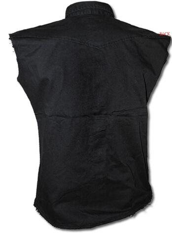 Tattoo//Skull // Spiral Direct Tinta Unita senza Maniche Camicia di Lavoro//Biker