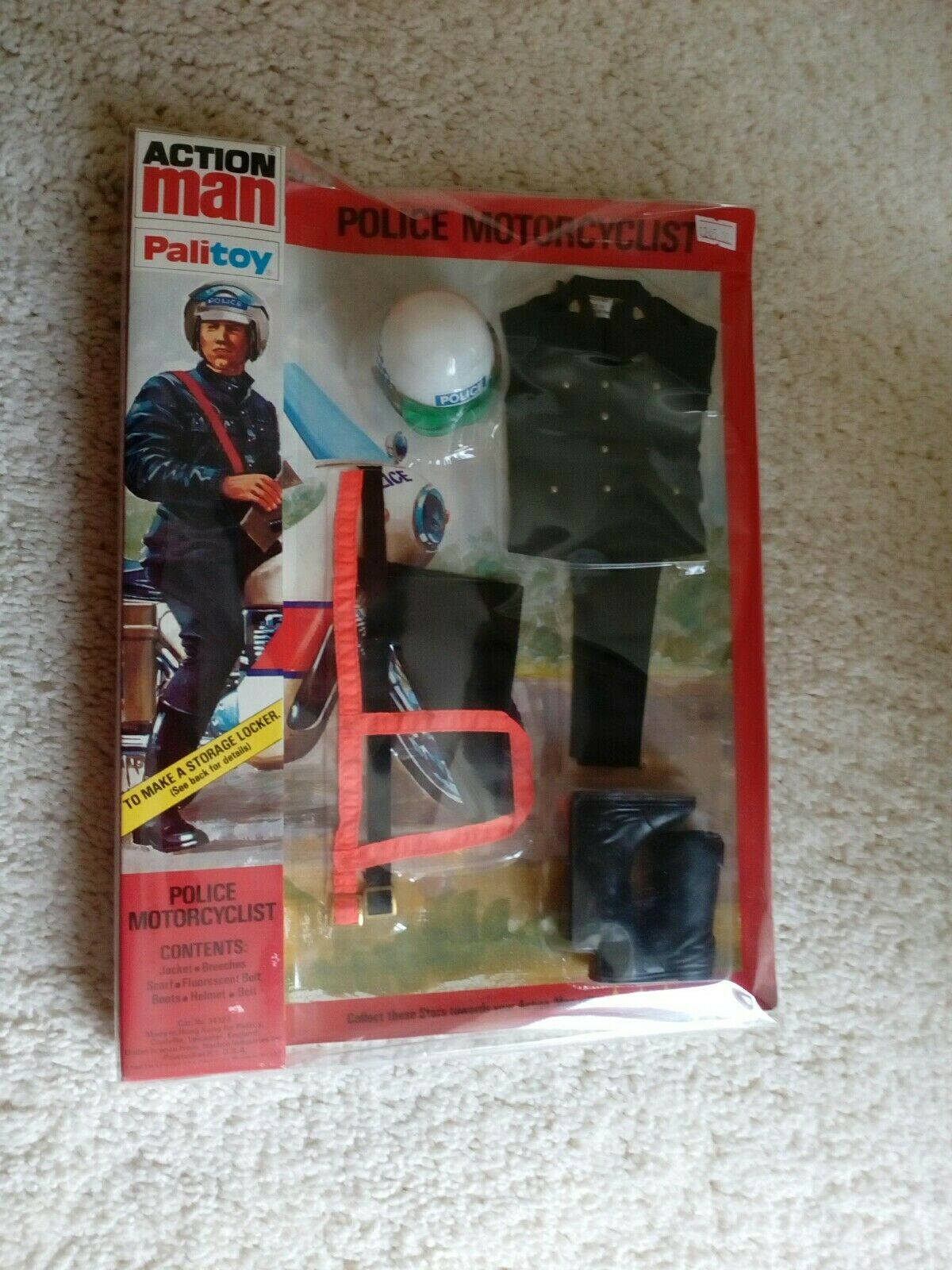 Palitoy Original Vintage Action Man Police Motorcyclist - Mint on Card