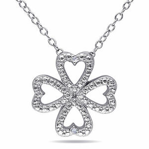 Sterling Silver Diamond Accent Clover Heart Pendant Necklace