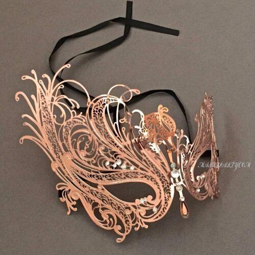 Rose Gold Laser Cut Filigree /& Masquerade Prom Ball Masks