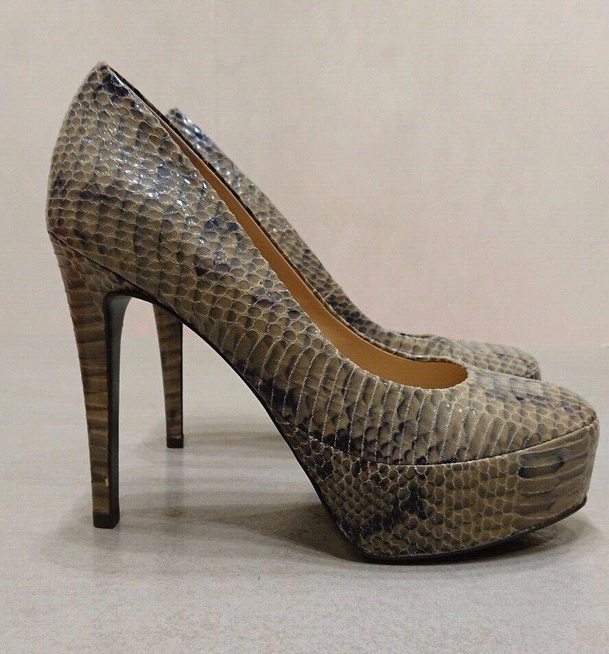 ORIGINAL Diane von Furstenberg Dècolletè Grey Stone Snake Print Size 39 Heel 13