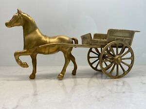 Vintage-Mid-CenturySolid-Brass-Ornamental-Figurine-Horse-and-Carriage-Gypsy-Cart