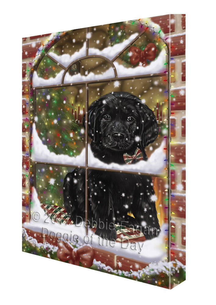 Please Come Home For Christmas Labrador Dog Sitting In Window Canvas Wall Art