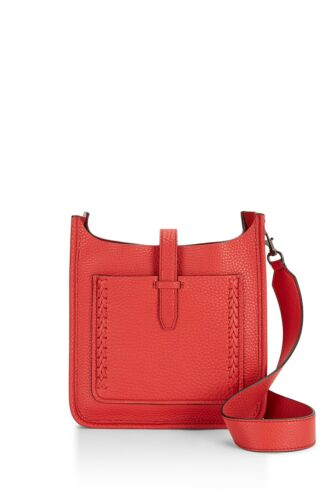 REBECCA MINKOFF Blood Orange Small Unlined Feed Bag with Whipstitch $245 NEW