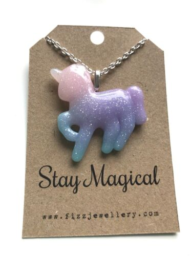 """Girls Silver Glitter Unicorn /""""Stay Magical/"""" Necklace New Message Card Necklace"""