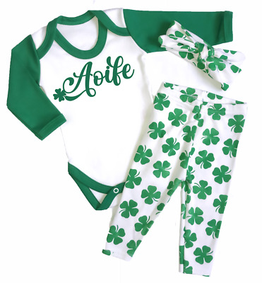 st Patrick Day Baby Set of 3 Irish Clover Long Sleeve Bodysuit for Baby