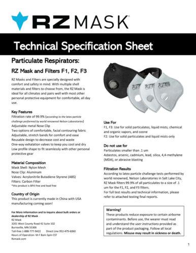 *MEDIUM* RZ Mask M2.5 Multi-Purpose Air Filtration TITANIUM Mesh w//2 filters