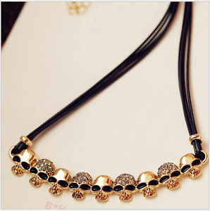 Sparkling-Punk-Skull-Pendant-Rose-Gold-GP-Cubic-Zirconia-Leather-Chain-Necklace