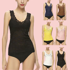 Sexy V-neck Sleeveless Camisole Womens Slim Vest Lace Tank Top bottom Singlet 28