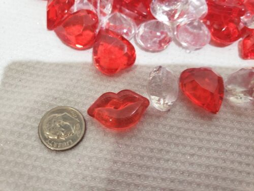 Valentines Day Lips Hearts Gems Red Clear Bowl Filler Table Scatter Decor 6.0oz