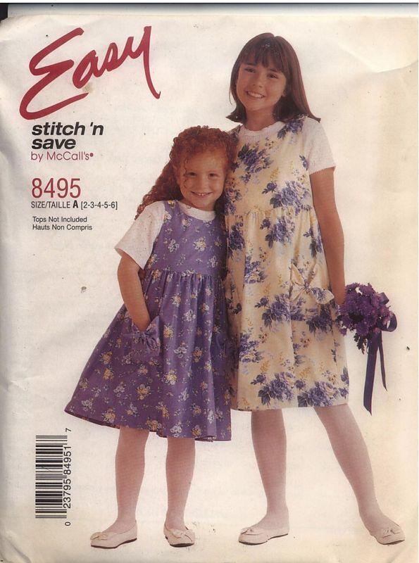 8495 UNCUT McCalls SEWING Pattern Girls Jumper Stitch /'N Save Easy OOP Summer FF