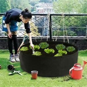 Details About Round Planting Container Grow Bag Breathable Felt Fabric Planter Nursery Garden