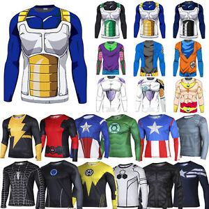 Mens-Compression-DBZ-Marvel-Superhero-T-Shirt-Gym-Sports-Cycling-Shirts-Tops-Tee