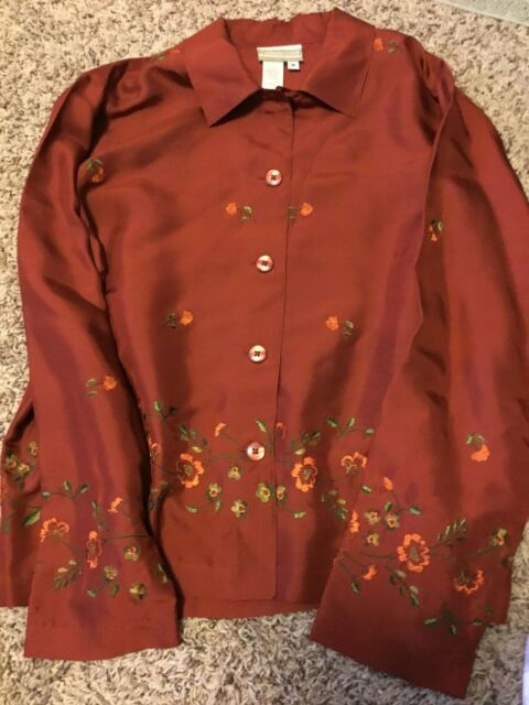 COLDWATER CREEK BUTTON BLOUSE SHIRT SIZE M MAROON WITH FLOWER TRIM 100% SILK
