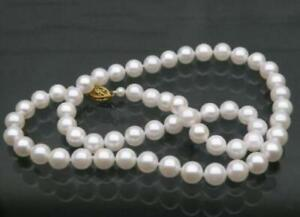 """Charming AAA 10-11mm real natural south sea white round pearl necklace 14k 18/"""""""