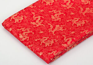 BY-1-2-YD-CHINA-RETRO-DAMASK-JACQUARD-BROCADE-FABRIC-FLORAL-DRAGON-GOLD-amp-RED
