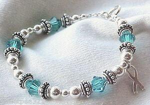 Ovarian Cancer Awareness Hand Crafted Bracelet W Swarovski Sterling Ebay