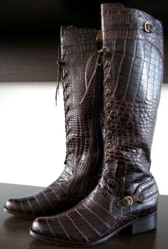color Stivali donna Hunter al ginocchio in in pelle da croco Stivali Beaufort Nuovo 40 taglia pelle 54wwxvfqY