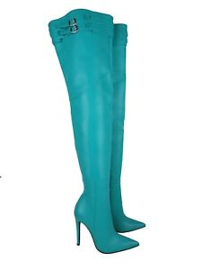 Green Turquoise Overknee Belt 43 Leather Couture Custom Boots Stivali Stiefel Cq a8AwUqz