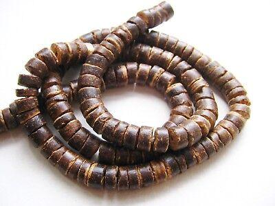 Kokos Perlen Rondellen braun 7,5mm Strang 58cm SERAJOSY Holzperlen