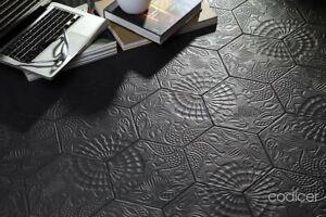 Piastrelle esagonale black nero gres 25x22 pavimento e rivestimento