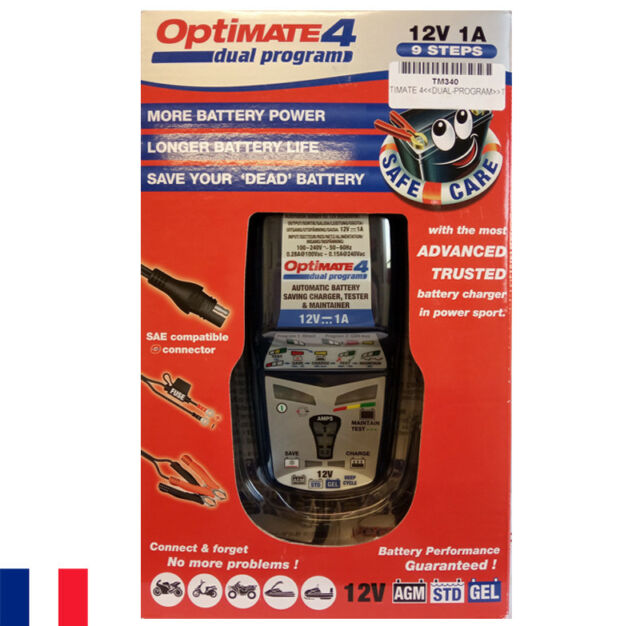Optimate 4 Chargeur de batterie 12 V TecMate Dual Program - Tec Mate - moto auto