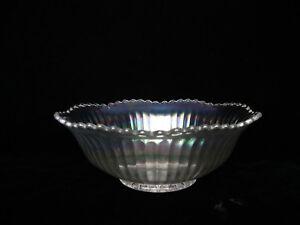 """Clear Carnival Glass Wide Rib Serrated Edge Bowl - 7 5/8"""" D X 2 3/4"""" T"""