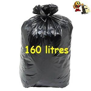 """1 Lots De 100 Sacs Poubelle Noir 160 L De Forte Epaisseur """" Carton De 100 Sacs """" Nous Prenons Les Clients Comme Nos Dieux"""