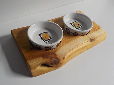 Lovely Raised Cat/kitten Feeder Includes 2 Ceramic 11cm Bowls As In Picture Handmade Firm In Structure Cat Supplies