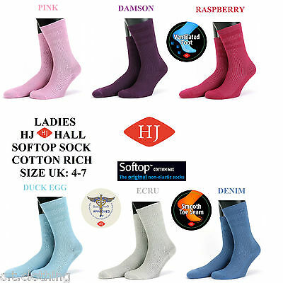 HJHall The Original Ladies Softop™ Sock Non Elastic Loose Top Cotton Rich UK:4-7