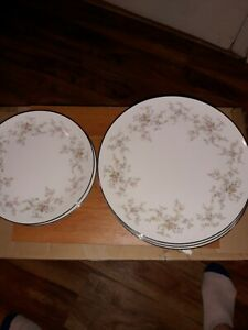 NORITAKE-China-ARLENE-5802-Pattern-Set-of-7-Dinner-Plates-And-7-Salad-Plates