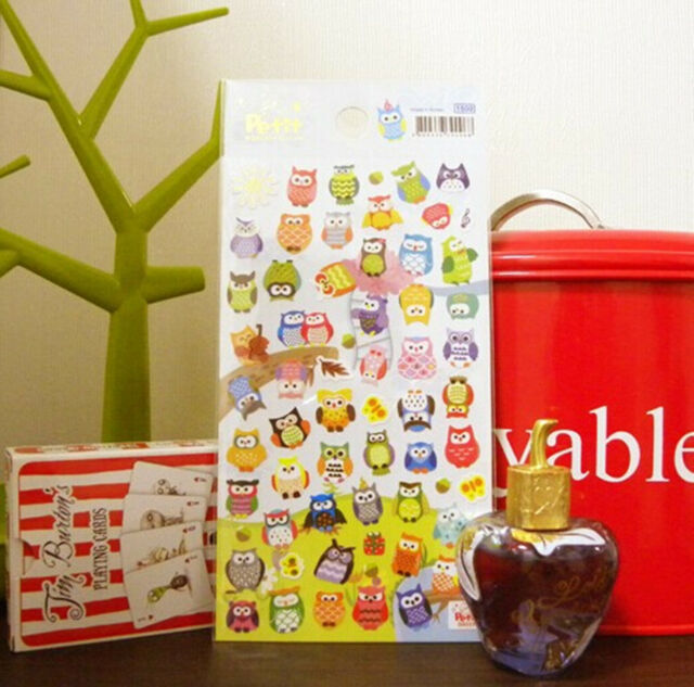 Colorful Owl Stickers Lovely Novelty Craft Scrapbook Card DIY Gift for Kids #113