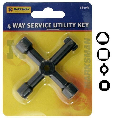 4 WAY SERVICE UTILITY KEY FOR GAS ELECTRIC METER CABINETS KEY METAL