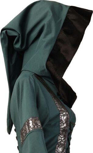 Mittelalter Karneval Halloween Larp Gewand Kleid Sarah Dunkelgrün-Schwarz XS-60