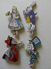 SET OF 4 ALICE IN WONDERLAND NEW FRIDGE MAGNETS.WHITE RABBIT, MAD HATTER ETC