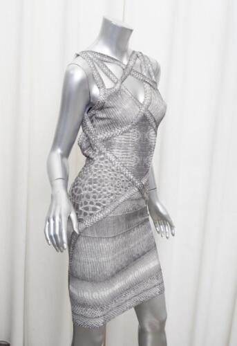 grijze Womens Print bandage XS jurk Herve Leger gebreide hagedis mouwloze bodycon FEqxO5w