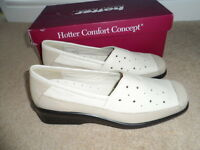 & Boxed Ladies Hotter Soft Beige Leather Slip-on Ella Shoes Size 6.5