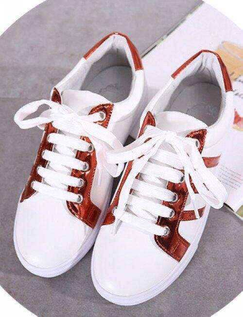 Chaussures de sport lacets blanc rouge Élégant confortable basses femme CW982