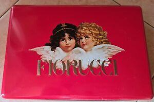 FIORUCCI, angeli, scatola in latta, rossa, vintage, anni 80