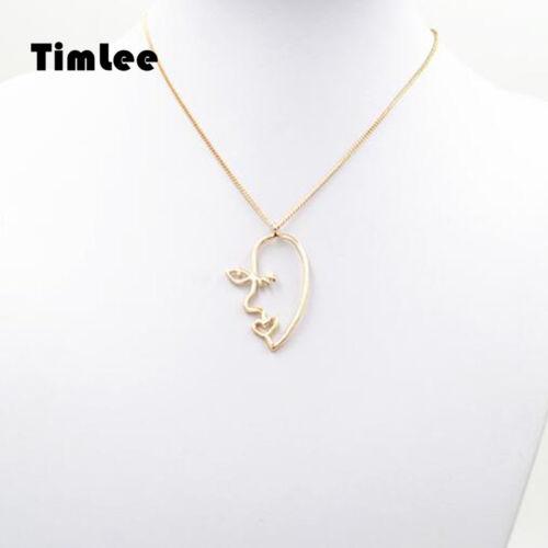 Timlee N121 tempérament Abstract déformée Human Hollow face Pendentif Colliers