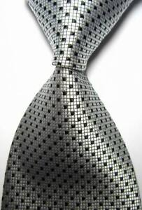 Hot-Classic-Checks-Silver-Black-JACQUARD-WOVEN-100-Silk-Men-039-s-Tie-Necktie