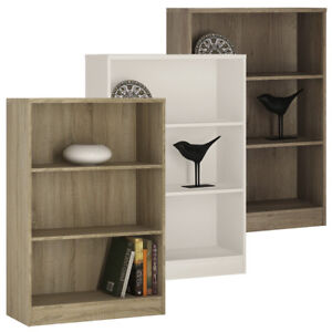 Crescita-Medium-Wide-Bookcase-in-Oak-White-Canyon-Living-Display-Cabinet-Bed