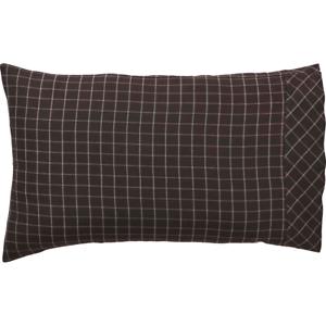 WYATT-Standard-Pillow-Case-Set-Rustic-Log-Cabin-Lodge-Brown-White-Plaid-VHC