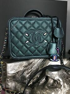 755f90a704a1 Image is loading CHANEL-IRIDESCENT-RAINBOW-VANITY -CASE-TURQUOISE-CAVIAR-FILIGREE-