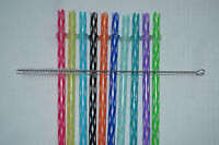 Reusable Straws Clear Swirly Colored Hard Plastic Acrylic Rings + Brush 3b