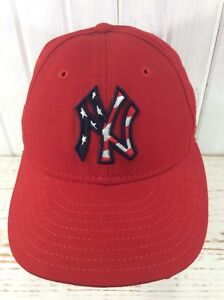 New York Yankees American Flag Logo Fitted Cap Hat Embroidered Logo ... b20b5c4eb98