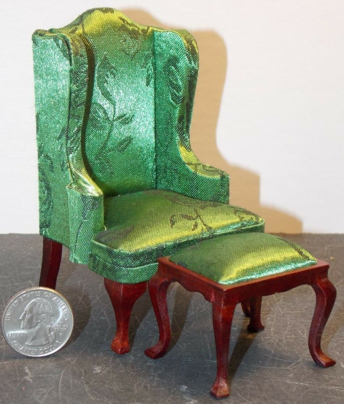 Dollhouse Miniature Queen Anne Brocade Green Living Room Sofa Set 1:12 scale H3
