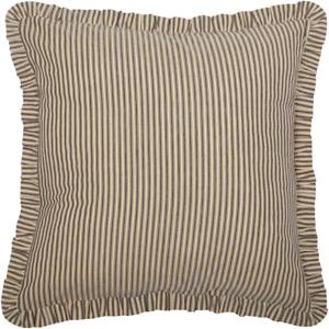 SAWYER-MILL-Charcoal-Ticking-Stripe-Fabric-Euro-Sham-Ruffle-Farmhouse-VHC-Brands