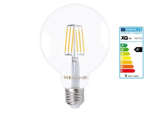 E27 600 Lumen Filament LED Leuchtmittel Globe 6 Watt warmweiß