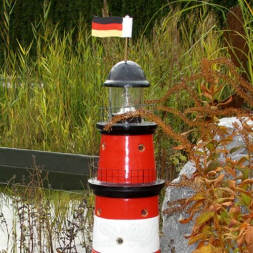 GARTEN LEUCHTTURM AMRUM SYLT 85 cm DOPPELLICHT rot weiß Figur Deko MEER NORDSEE